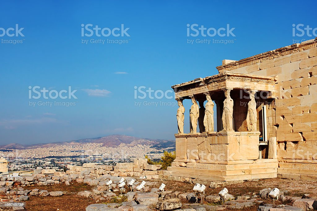Caryatids columns and temple. Athens, Greece. stock photo