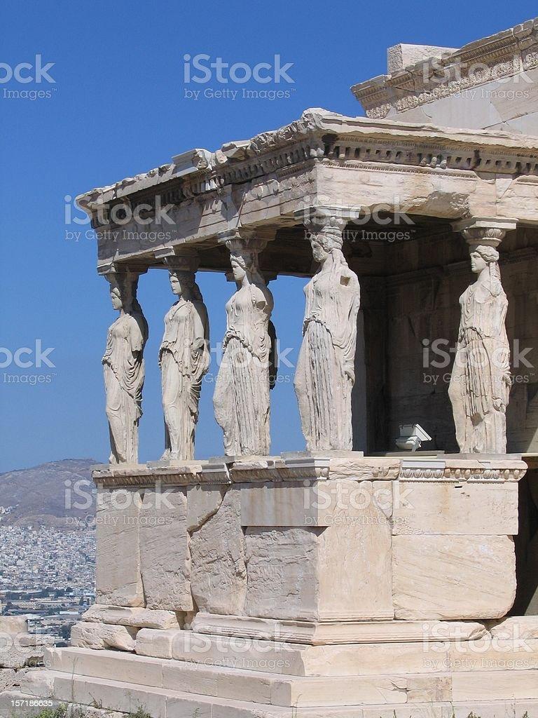 Caryatids in Erechtheion Temple - Acropolis royalty-free stock photo
