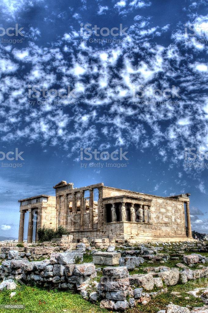 Caryatids in Erechtheum from Athenian Acropolis,Greece.HDR image stock photo