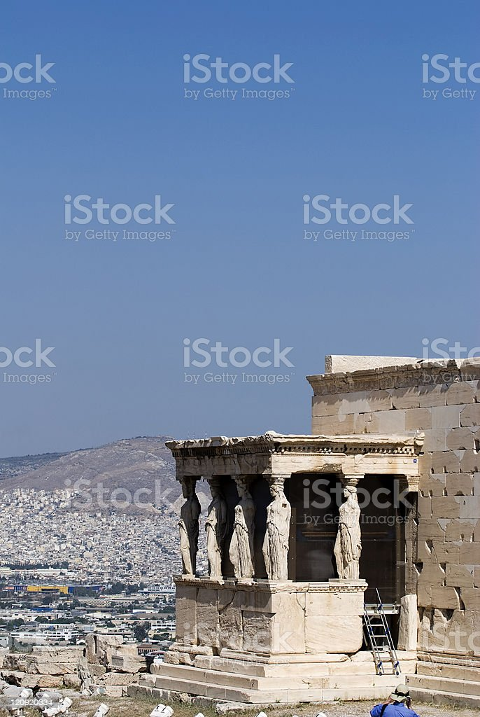 Caryatids in Greek temple. stock photo