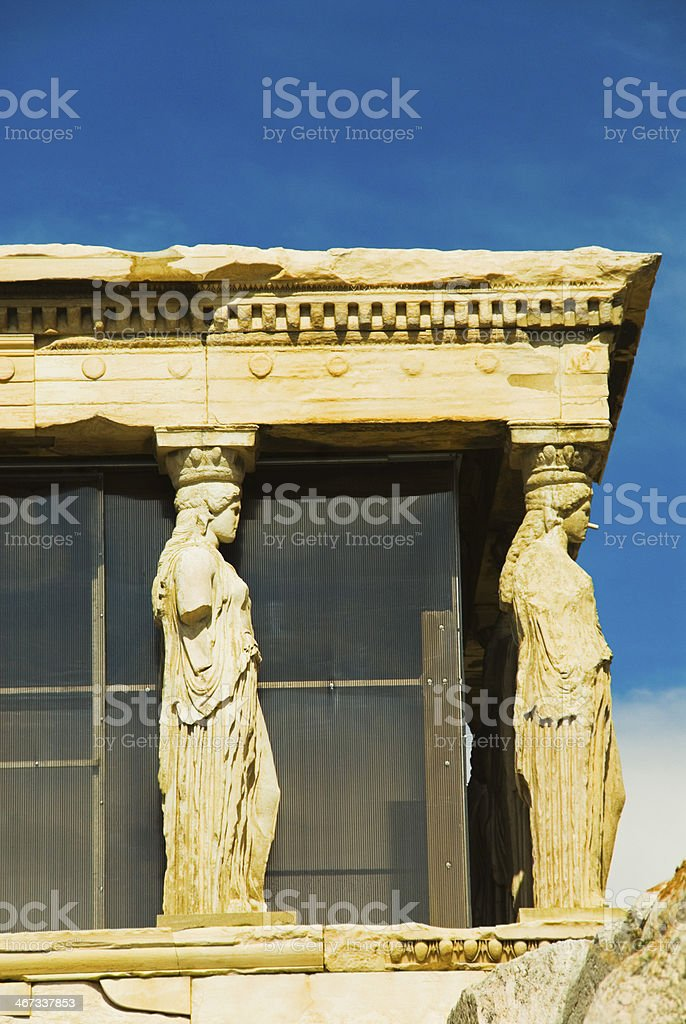 Caryatids of a temple royalty-free stock photo