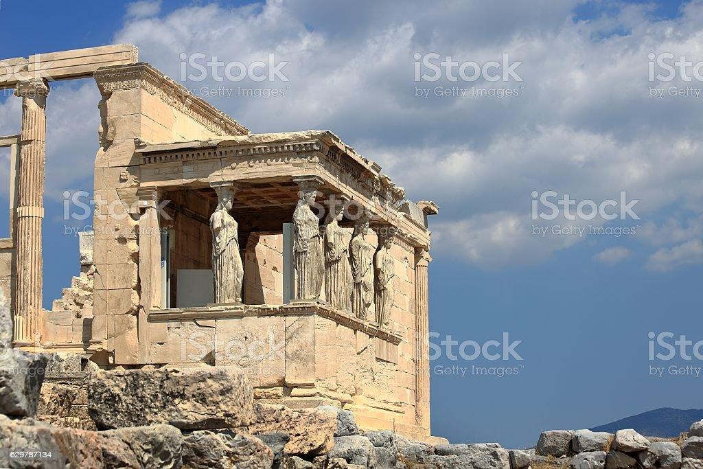 Caryatids of Erechtheion in Athens Acropolis, Greece stock photo