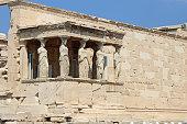 Caryatids of Erechtheion in Athens Acropolis, Greece