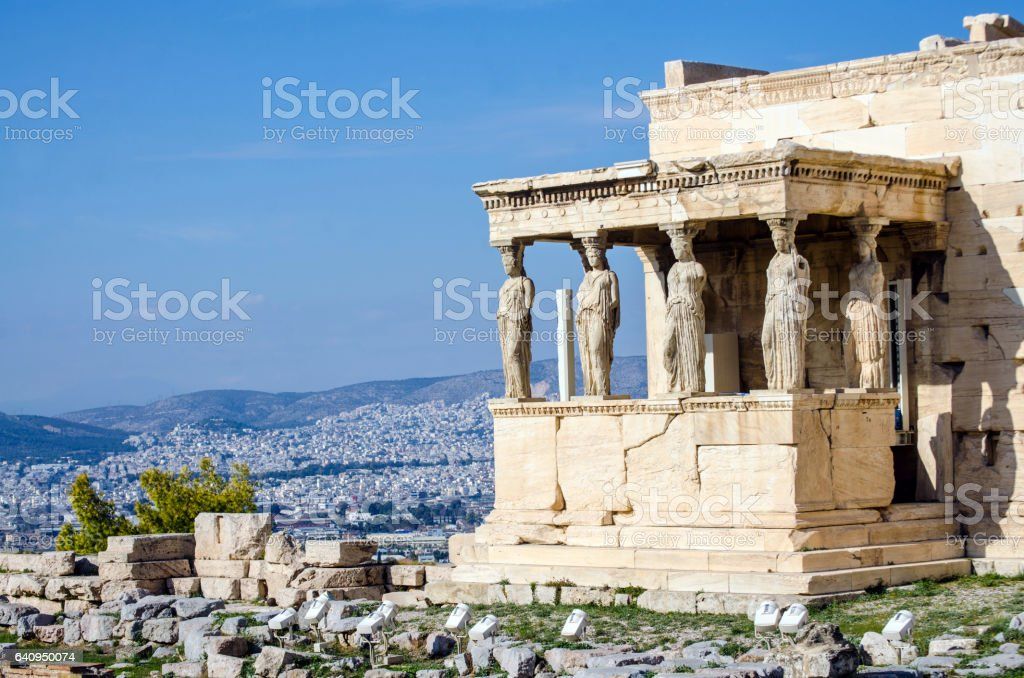 Caryatids stock photo