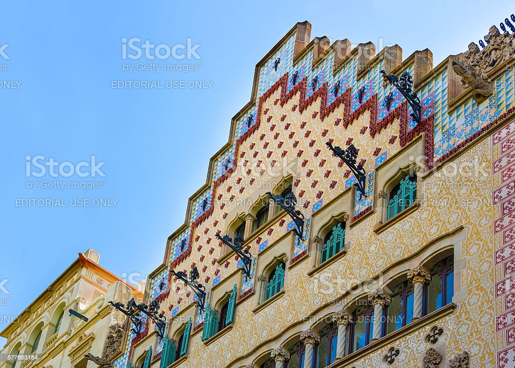 Casa Amatller in block of Discord in Eixample of Barcelona stock photo