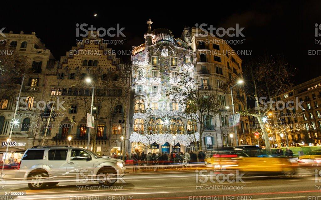 Casa Batllo at night stock photo