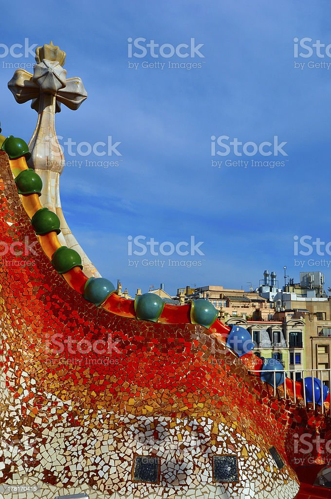Casa Batllo Barcelona Roof Top royalty-free stock photo