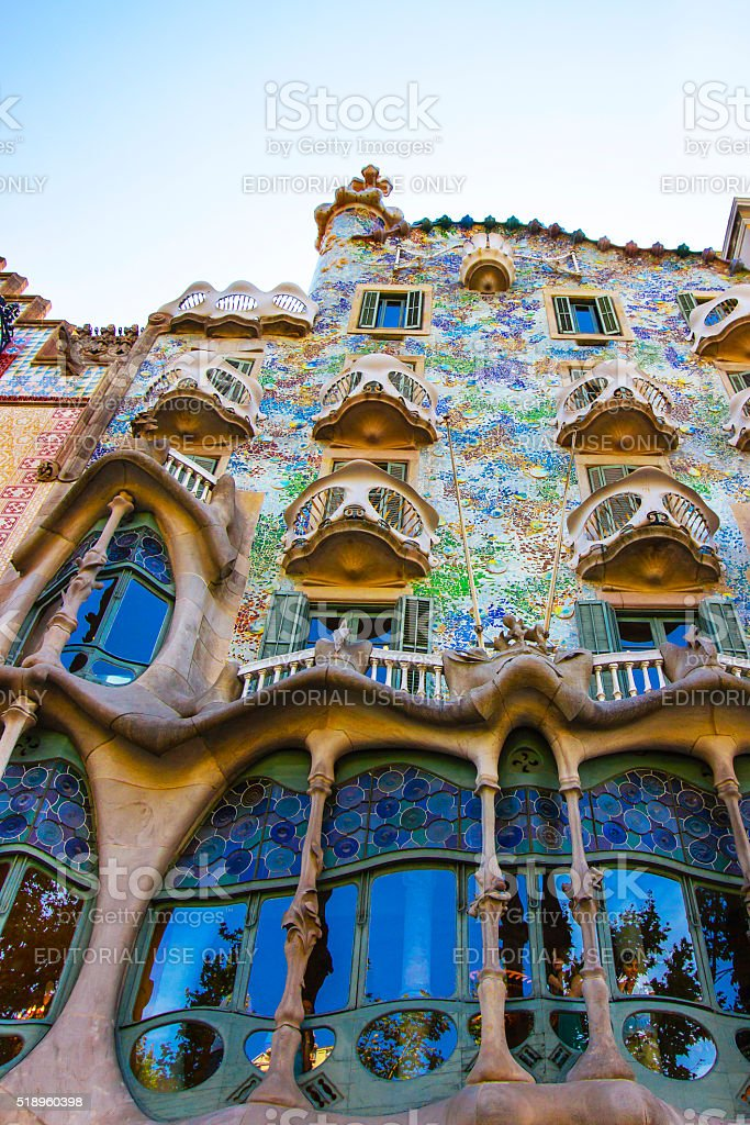 Casa Batllo building in Barcelona in Spain stock photo