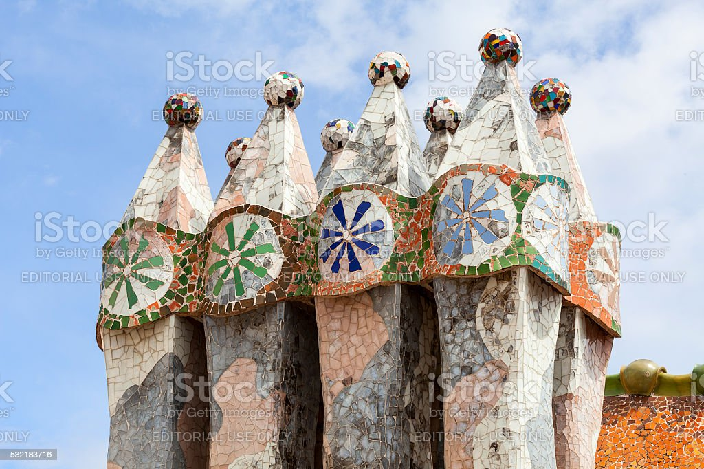 Casa Batllo,  housetop , chimneys with ceramic mosaic, Barcelona, Spain stock photo