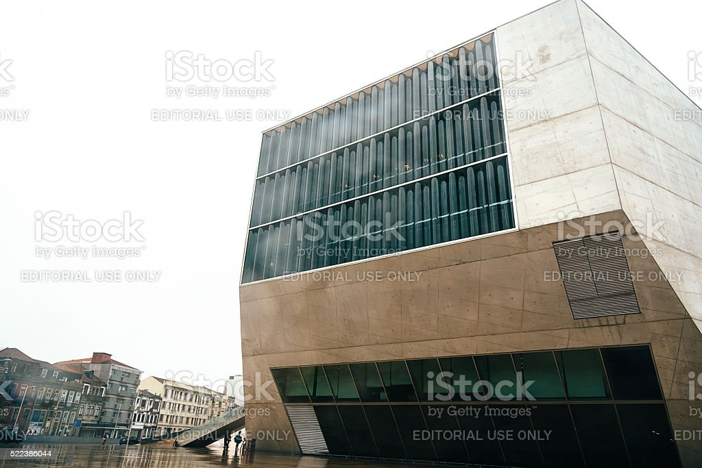 Casa da Musica in Porto after rain stock photo