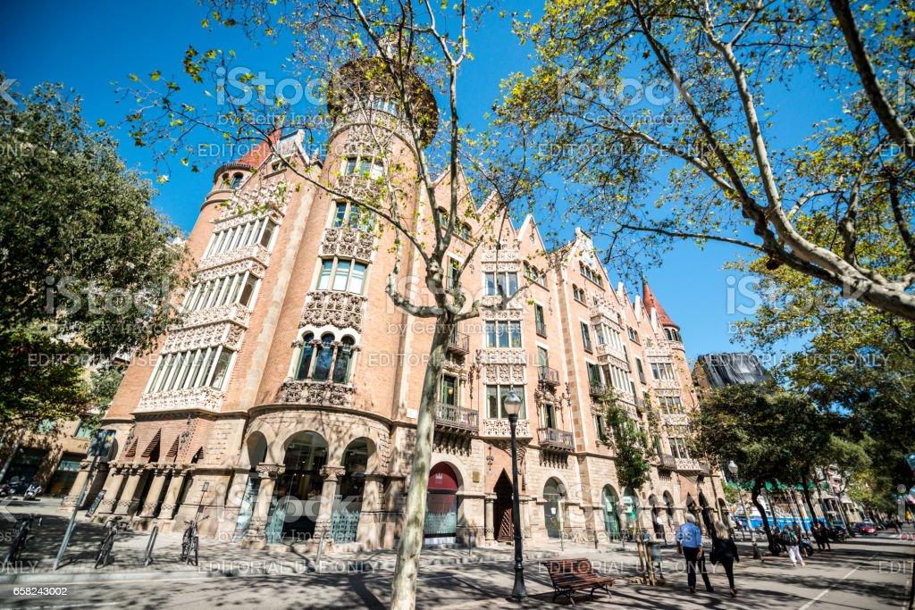 Casa de les Punxes, or Casa Terradas in Barcelona, Spain stock photo