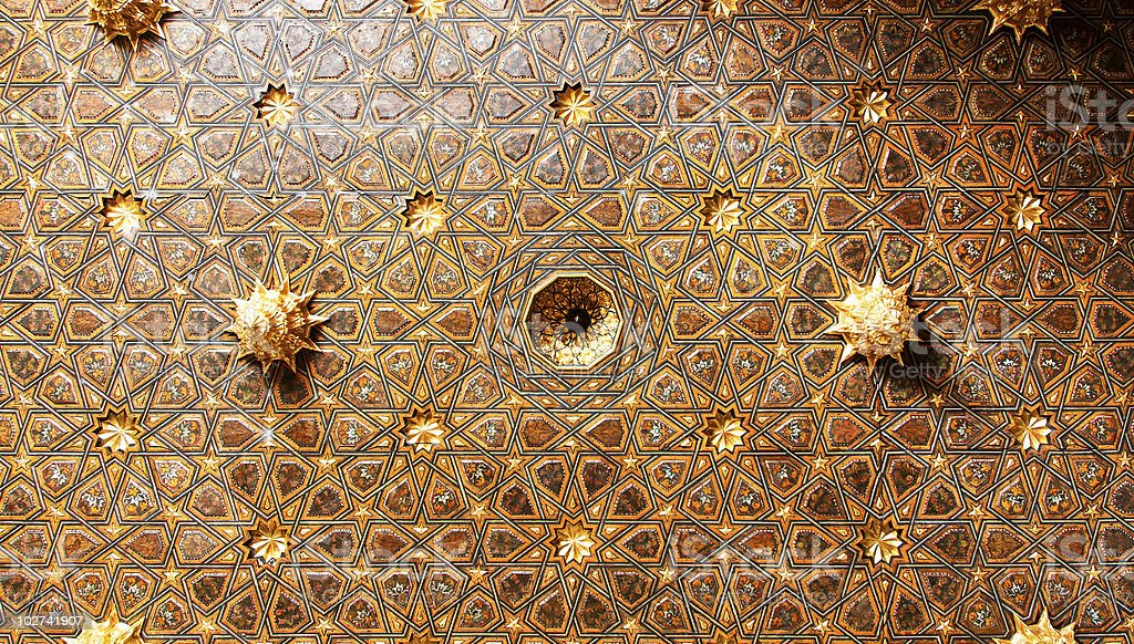 Casa de Pilatos, Mudejar decorated ceiling in Seville royalty-free stock photo
