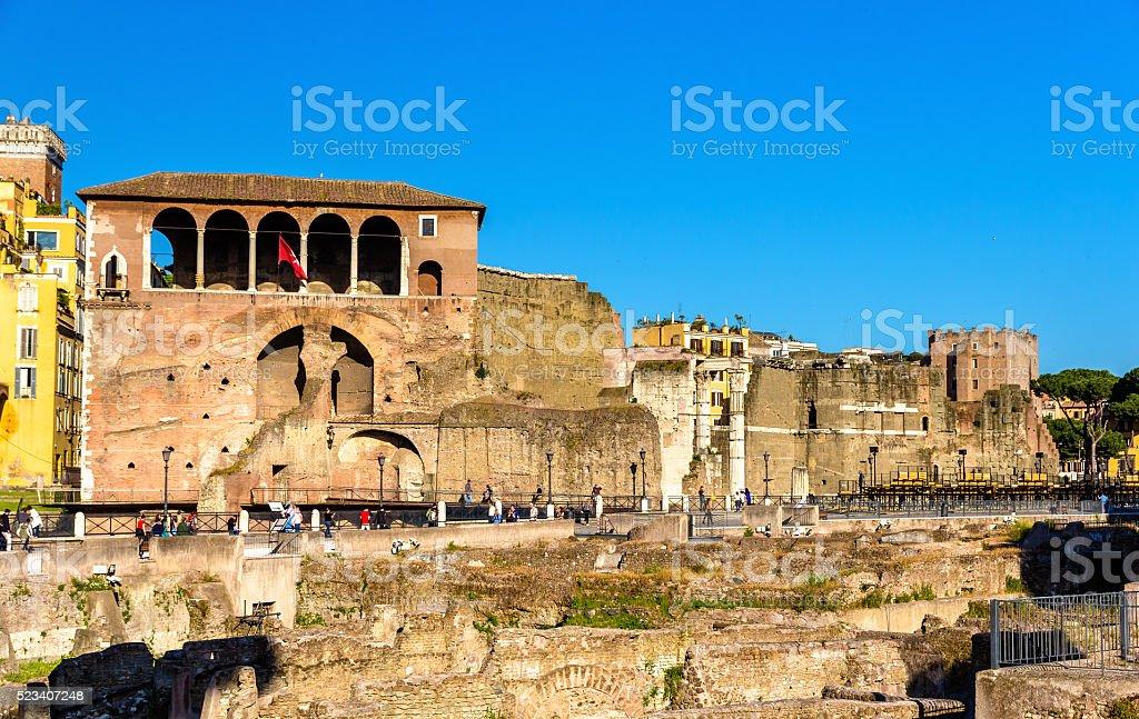 Casa dei Cavalieri di Rodi at the Forum of Augustus stock photo