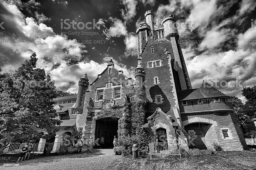 Casa Loma stables in black and white stock photo