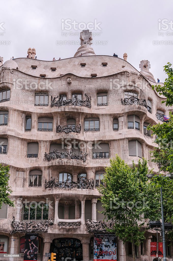 Casa Milà in Barcelona by Spanish Catalan architect Antoni Gaudí stock photo