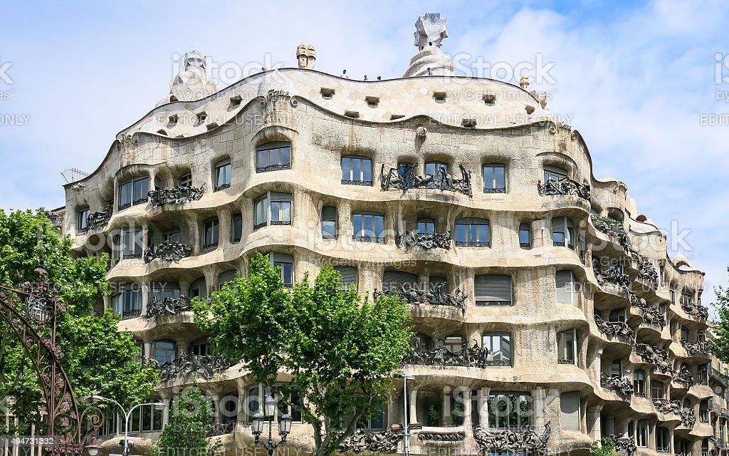 Casa Mila by Gaudi in Barcelona stock photo