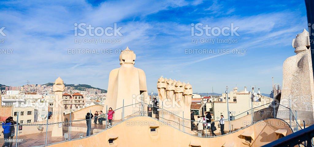 Casa Mila rooftop, Barcelona stock photo