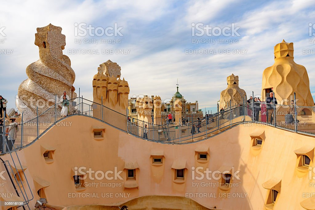 Casa Mila rooftop, Barcelona stock photo