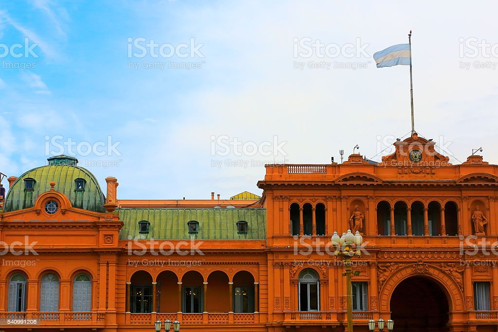 Casa Rosada and Argentinian flag, Buenos Aires, Argentina stock photo