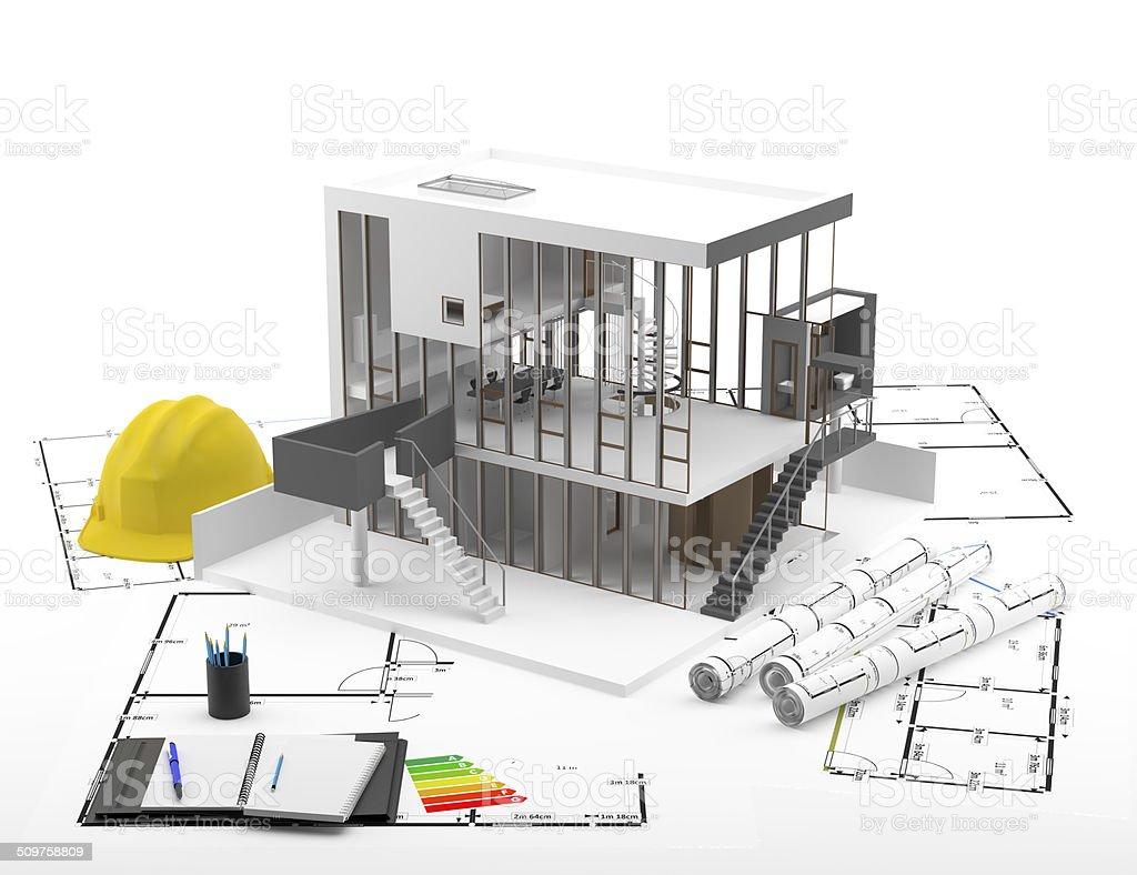 Casa y Planos - Eficiencia Energ?tica stock photo