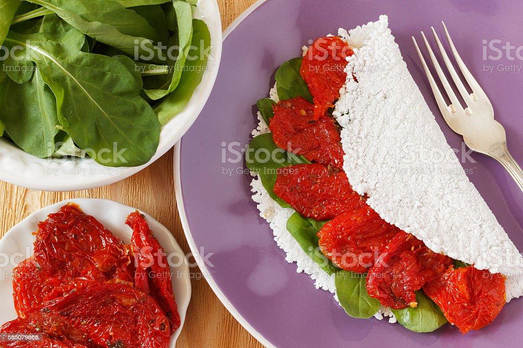 Casabe (bammy, beiju, bob, biju) - flatbread of cassava (tapioca stock photo