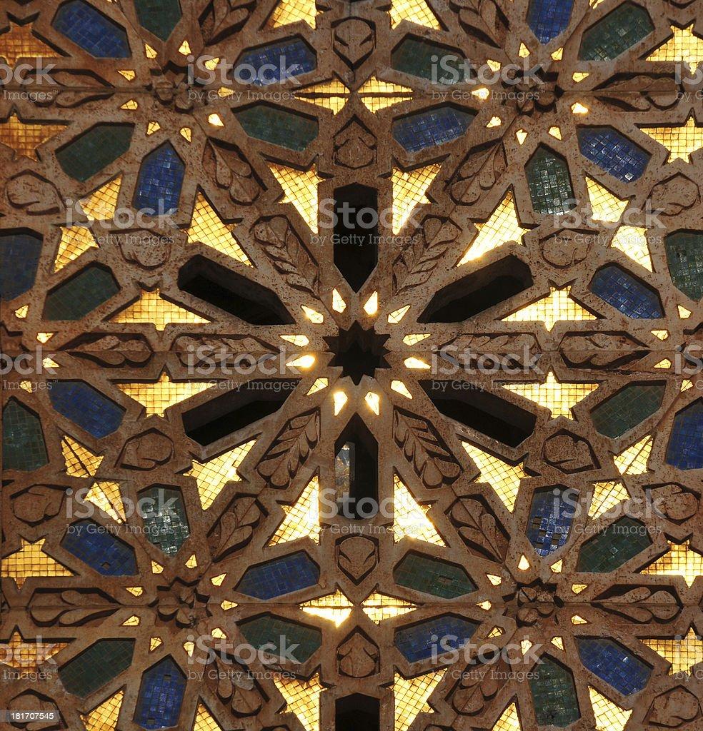Casablanca: Hassan II mosque, golden tiles - Zellige stock photo
