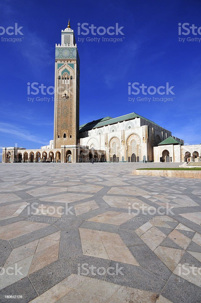 Casablanca, Morocco: Hassan II mosque and its courtyard stock photo