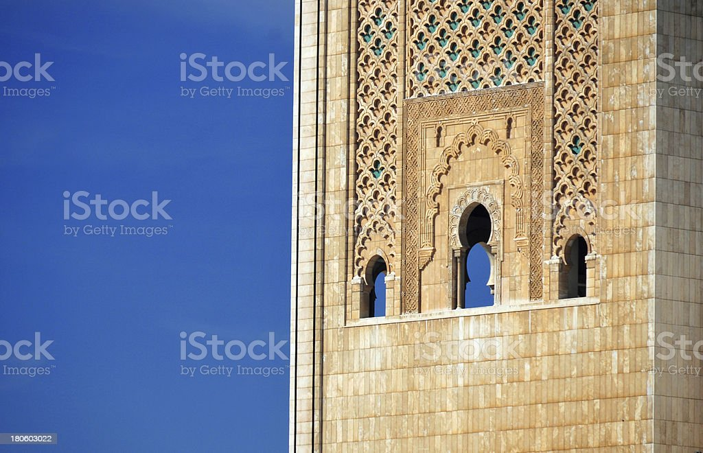 Casablanca, Morocco: Hassan II mosque, carved marble on the minaret stock photo