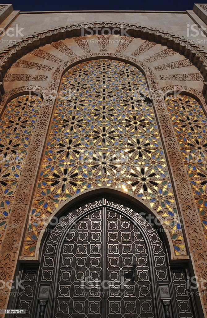 Casablanca, Morocco: Hassan II mosque, gate and golden mosaics, Zellige stock photo
