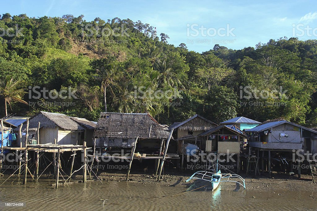 Casas en marea baja stock photo