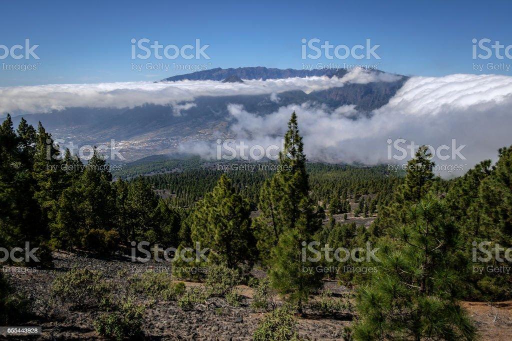 Cascada de nubes (cloud waterfall) over Cumbre Nueva, La Palma, Spain stock photo