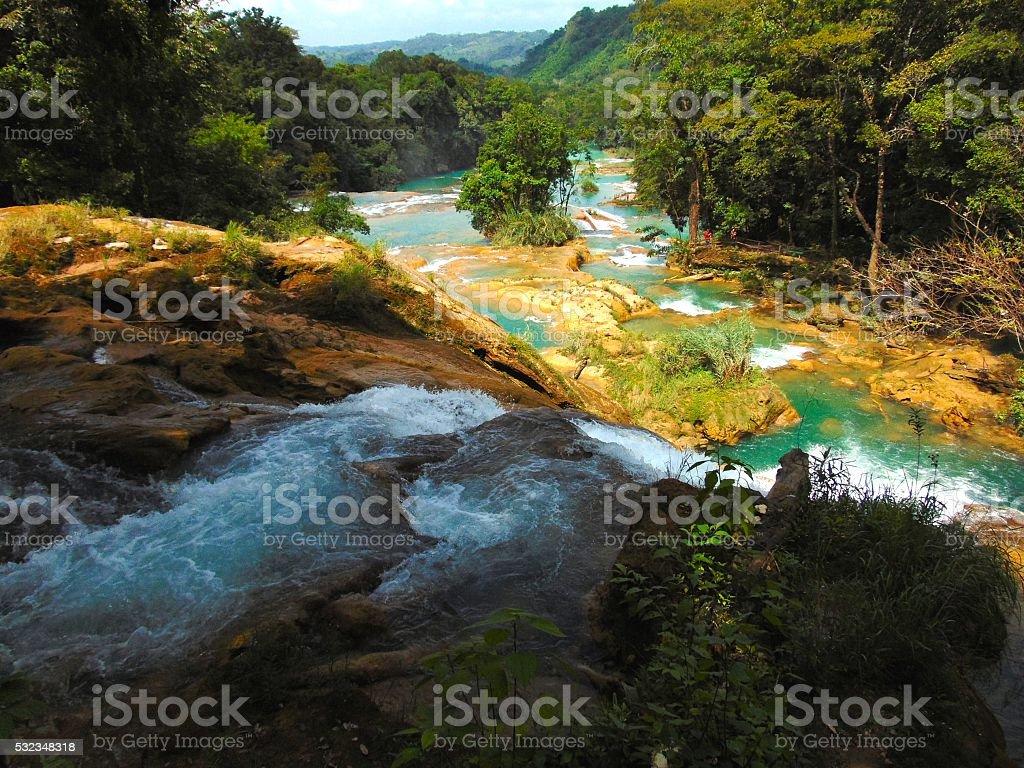 Cascadas de Agua Azul, Chiapas. stock photo