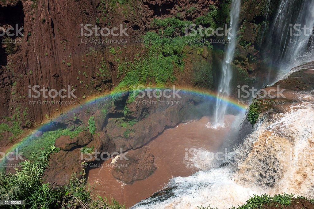 Cascade at Cascades D'Ouzoud waterfall in Morocco stock photo