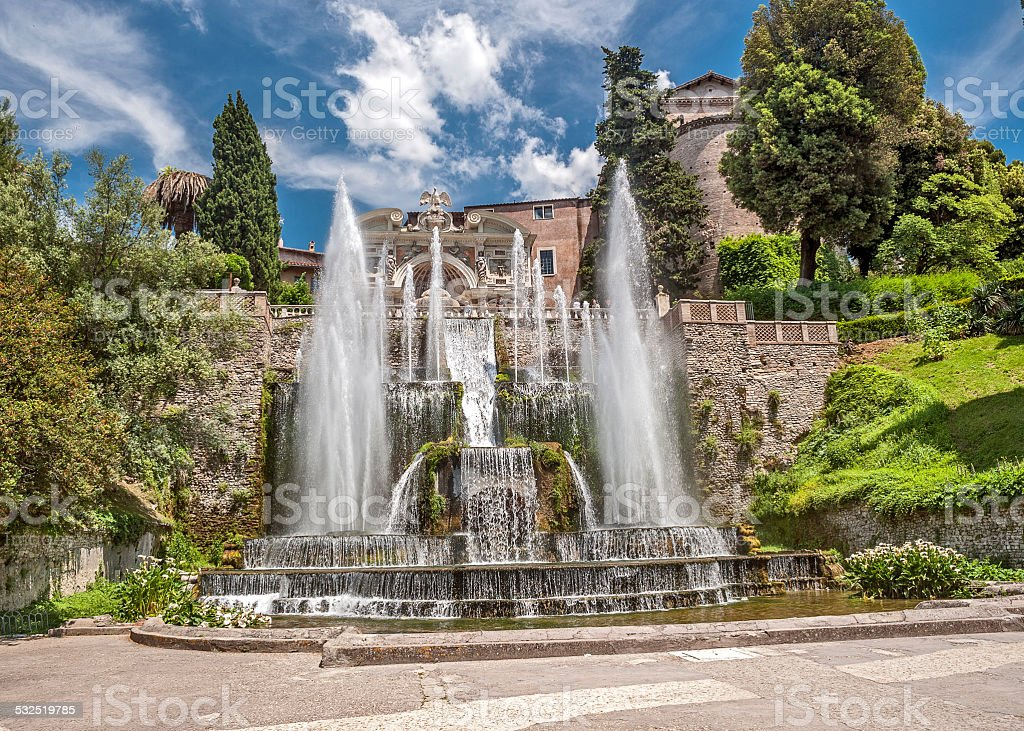 Cascade beautiful fountains at the famous Villa d'Este in Tivoli . stock photo