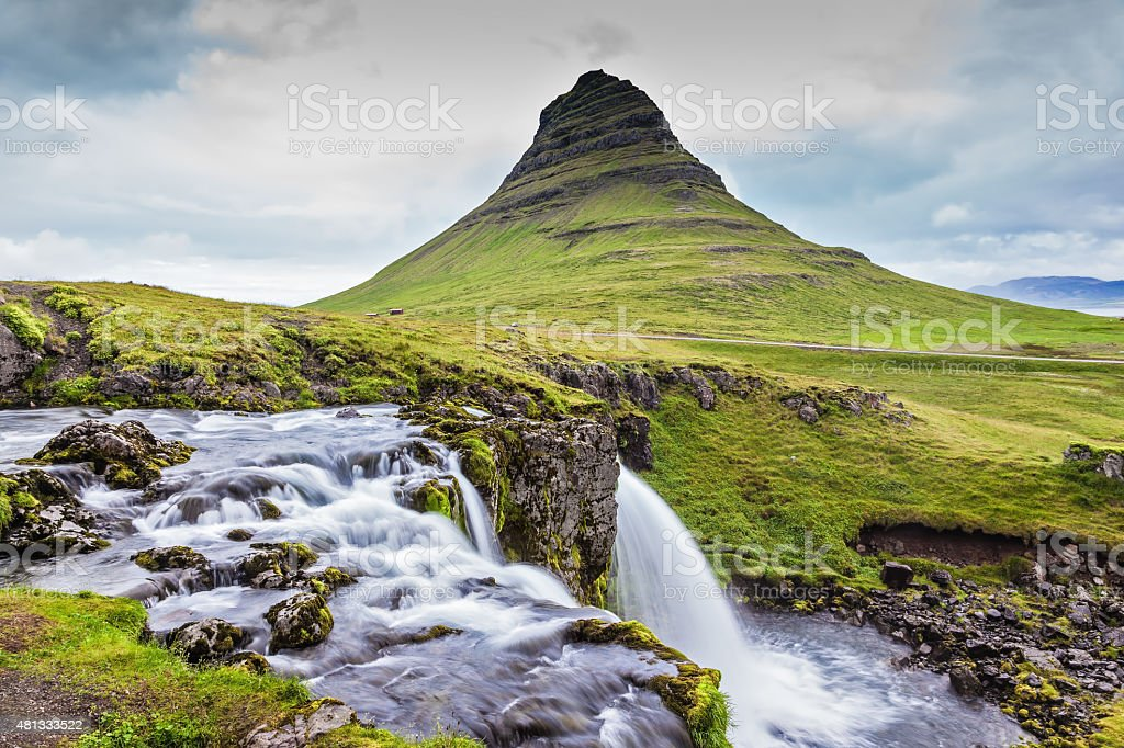 Cascade deep falls Kirkyyufell Foss stock photo
