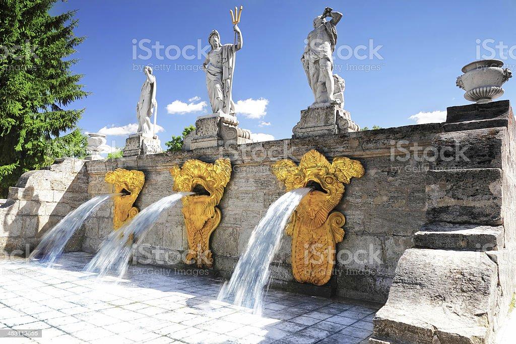 Cascade Fountain 'Gold Mountain' in Pertergof, Saint-Petersburg stock photo