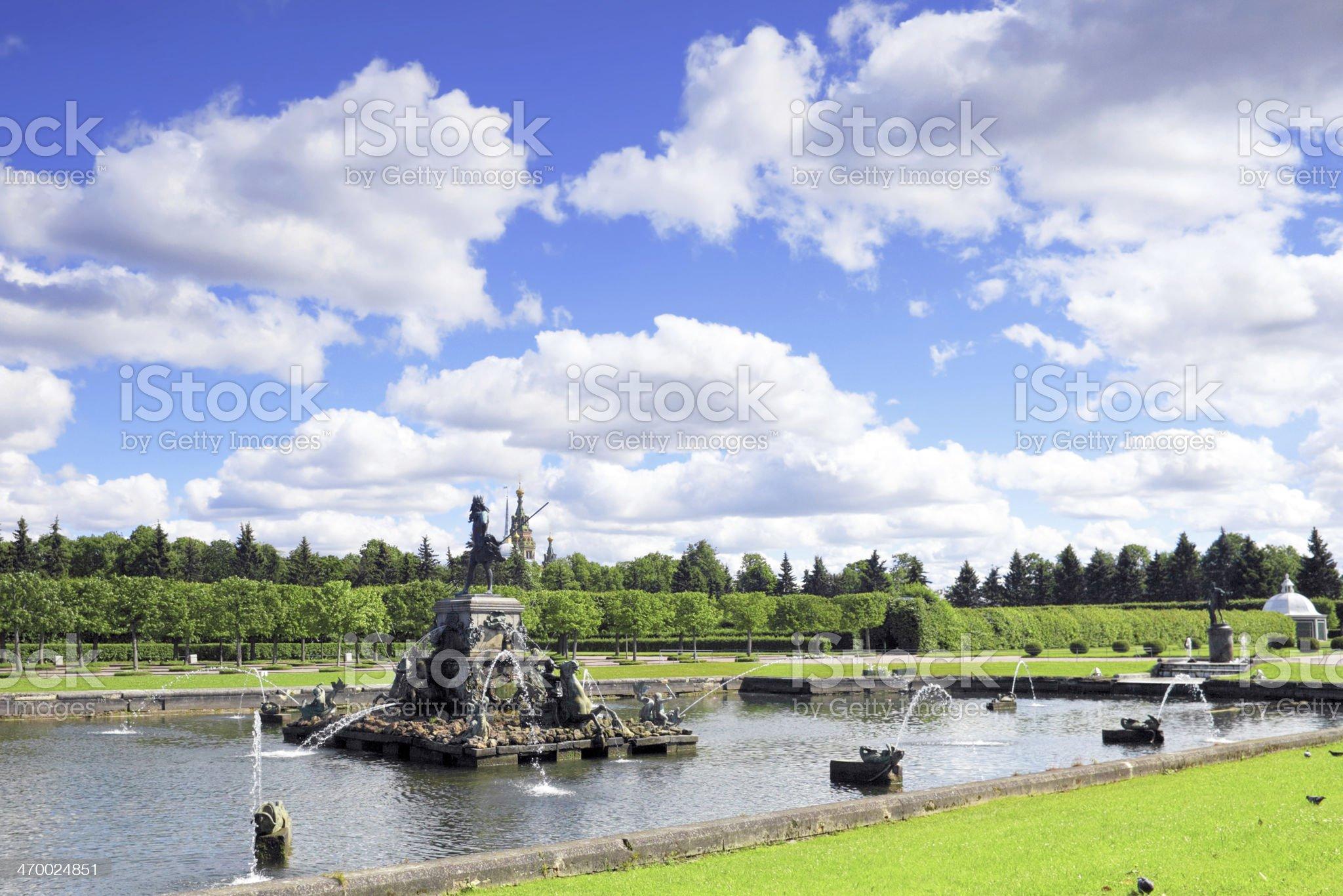 Cascade Fountain 'Neptune' in Pertergof, Saint-Petersburg royalty-free stock photo