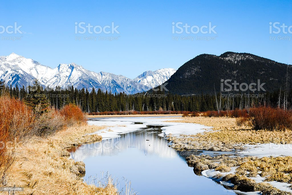 Cascade Mountain and Vermilion Lake  in Winter, Canadian Rockies stock photo