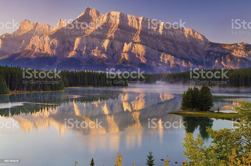Cascade Mountain over Two Jack Lake royalty-free stock photo