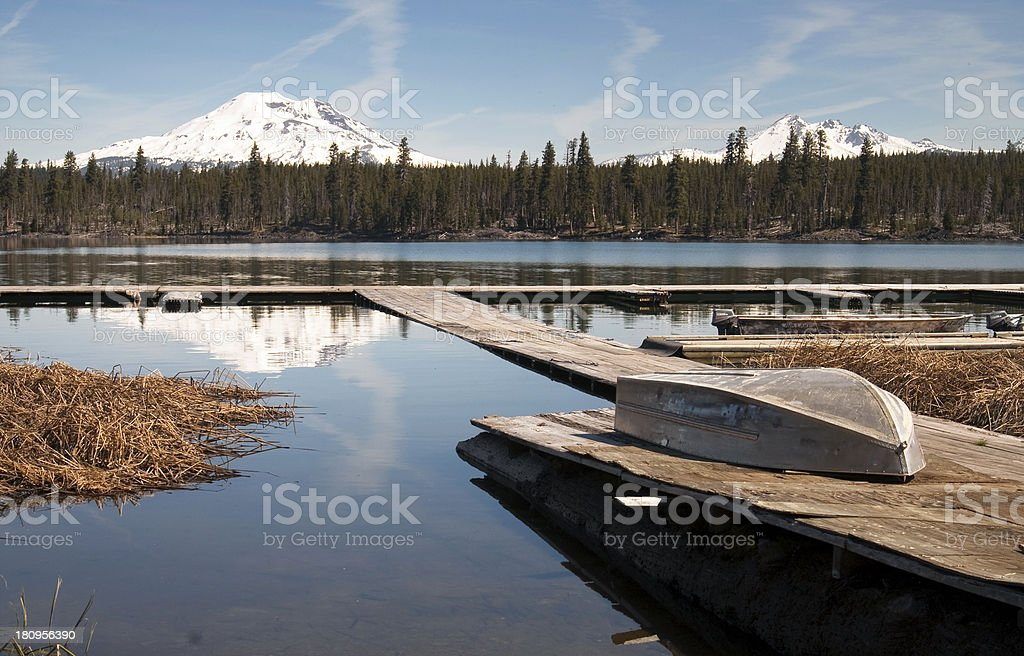 Cascade Mountain Range Rises Above Alpine Lake Oregon State stock photo