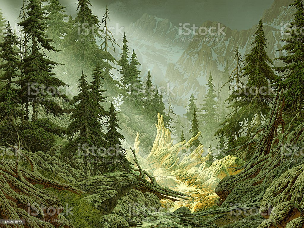 Cascade Mountain Stream stock photo
