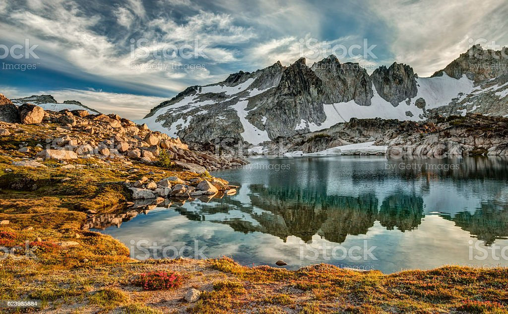 Cascade Mountain Sunset Reflection stock photo