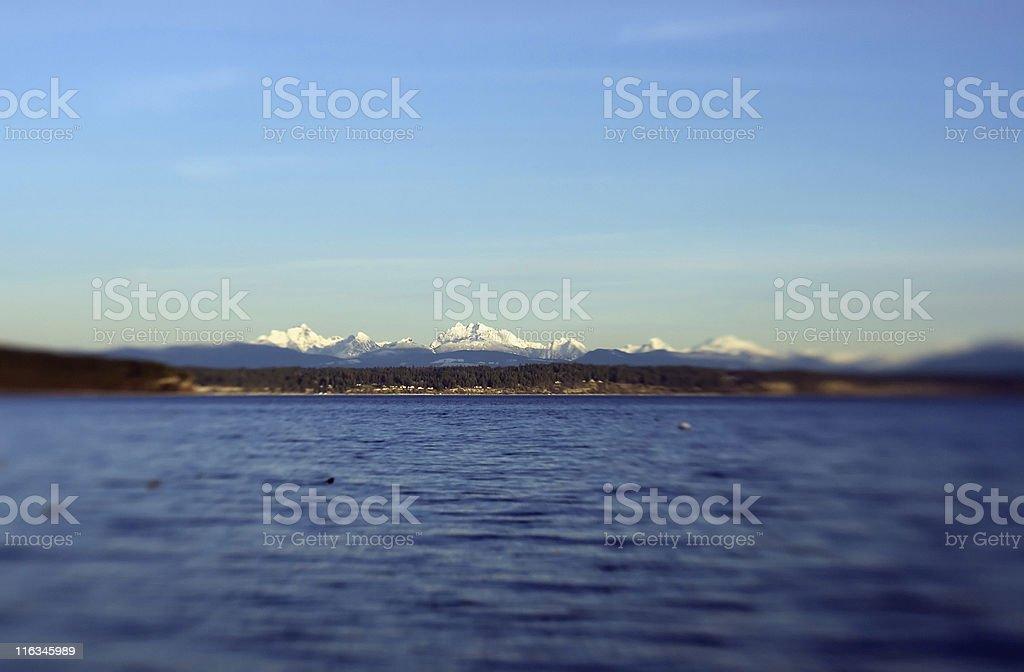 Cascade Mountains from Whidbey Island,  Washington USA royalty-free stock photo