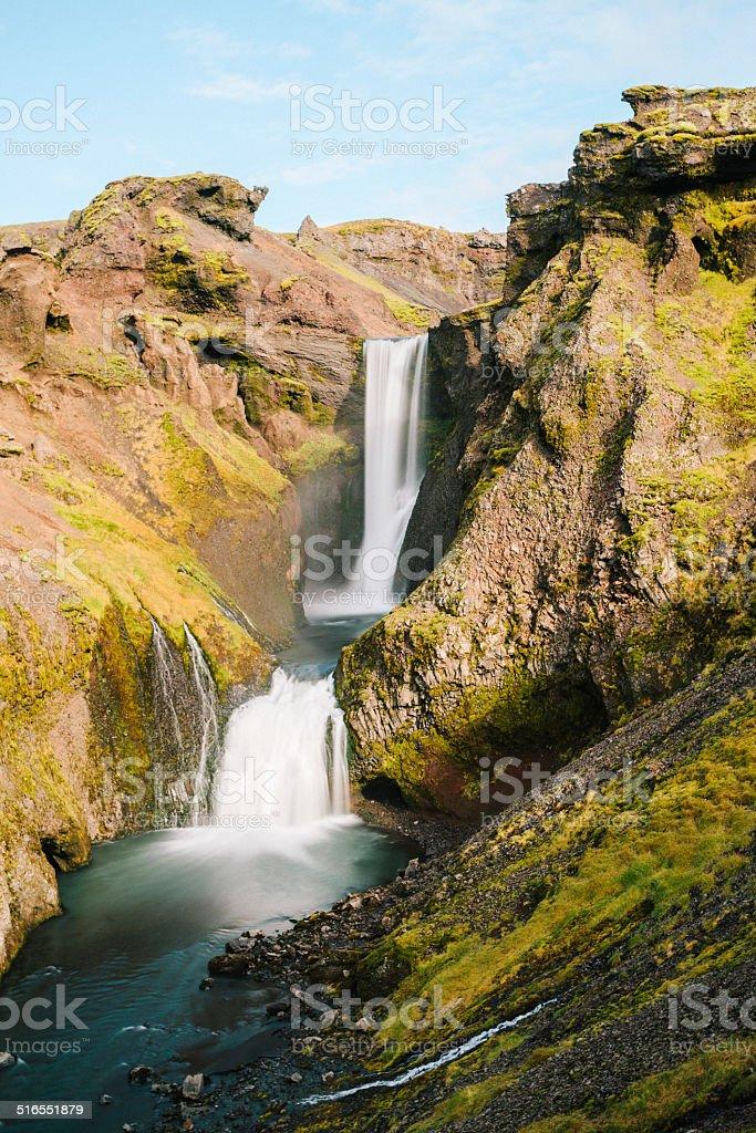 Cascade of falls, River Skoga stock photo