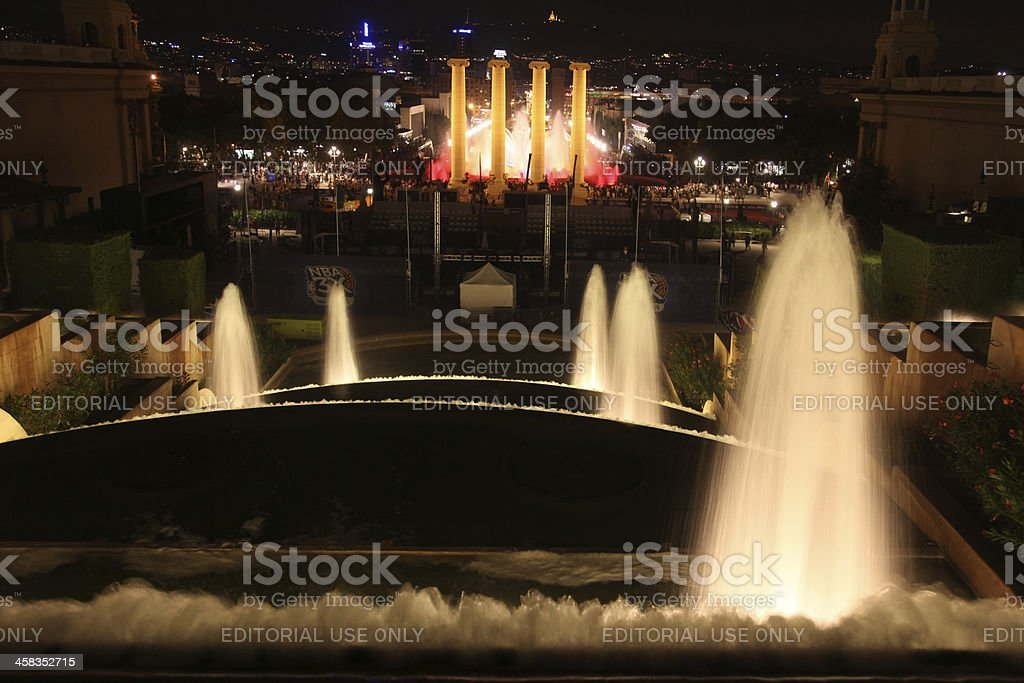 Cascade of fountains at night, Barcelona royalty-free stock photo