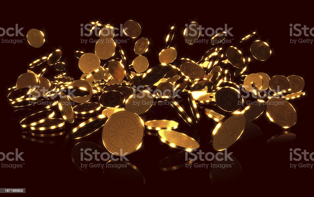 Cascade of gold coins. royalty-free stock photo