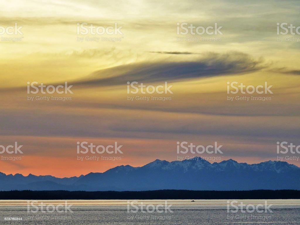 Cascade Sunset stock photo