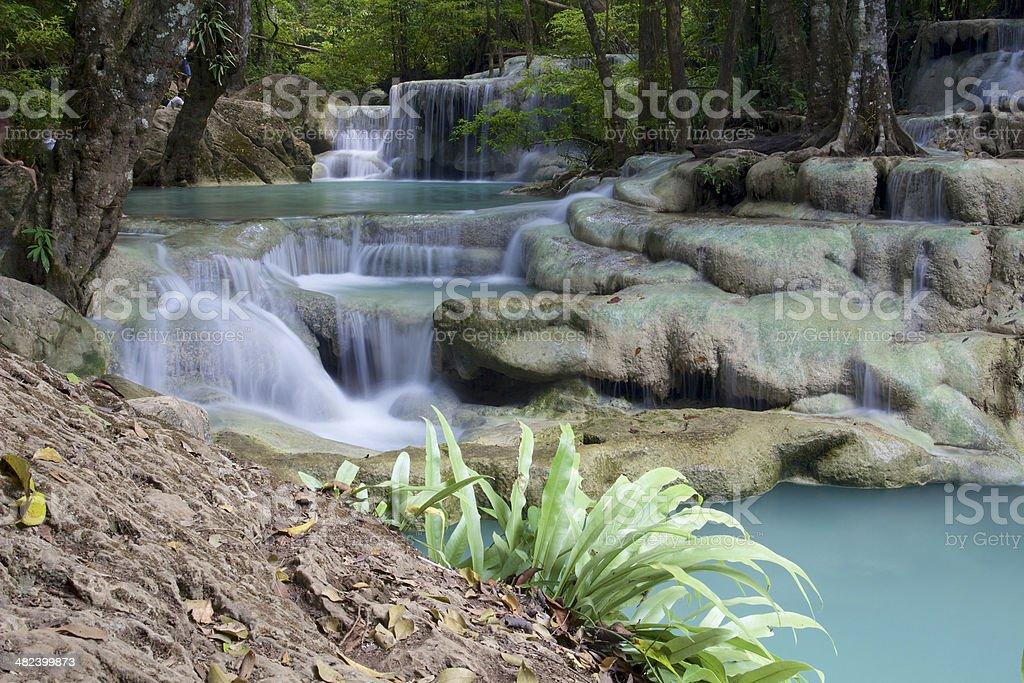 Cascade waterfall in Erawan royalty-free stock photo