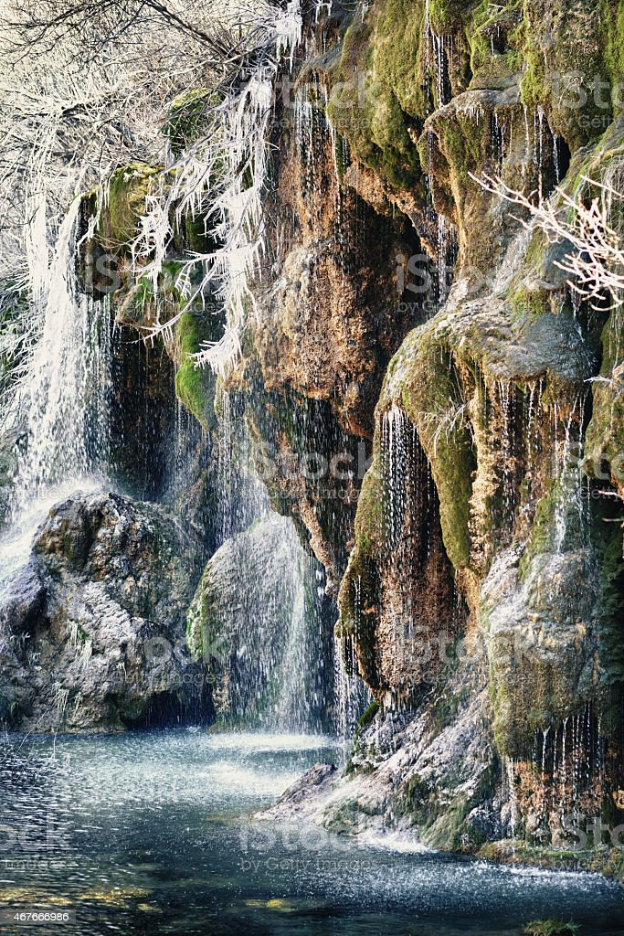 cascade with moss stock photo