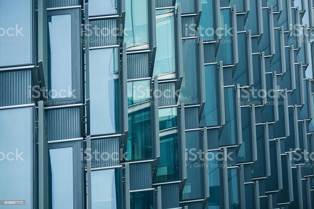 Cascaded windows of office building stock photo